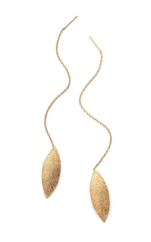 ZOZidesign thread leaf earrings
